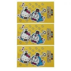 472 스티커 도라에몽 × 헬로 키티 다이 컷 비닐 스티커 메모 3개1세트